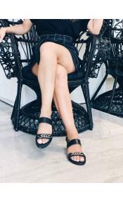 Bianca Δερμάτινο Σανδάλι, Μαύρο