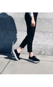 Brooke δερμάτινο sneaker, μαύρο