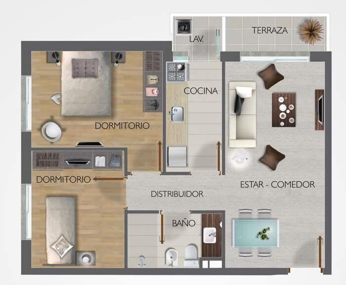Town Park Unidad Plano 2 dormitorios