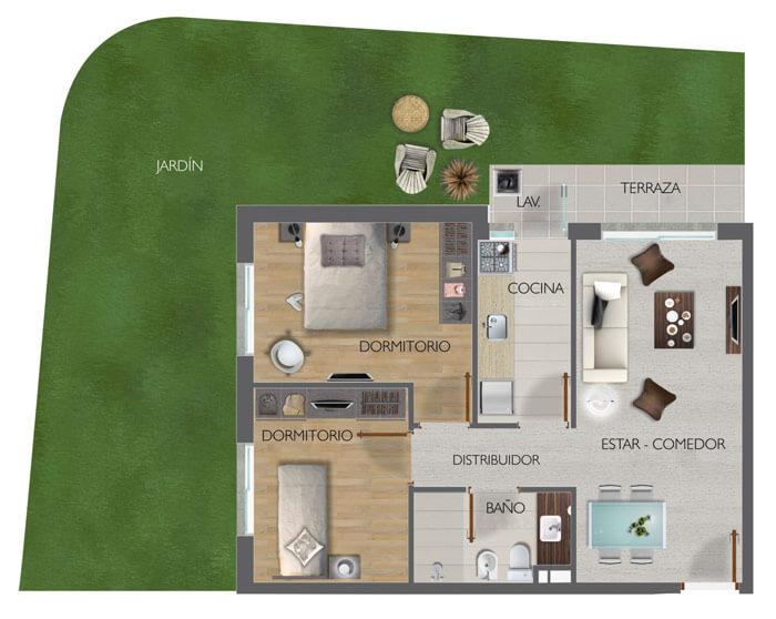 Town Park Unidad 2 Dormitorios 02 con Jardin