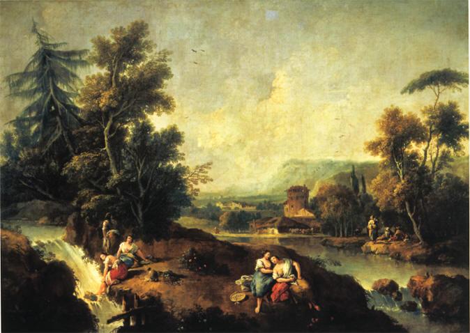 Lettura opera Giuseppe Zais Paesaggio con fanciulle al