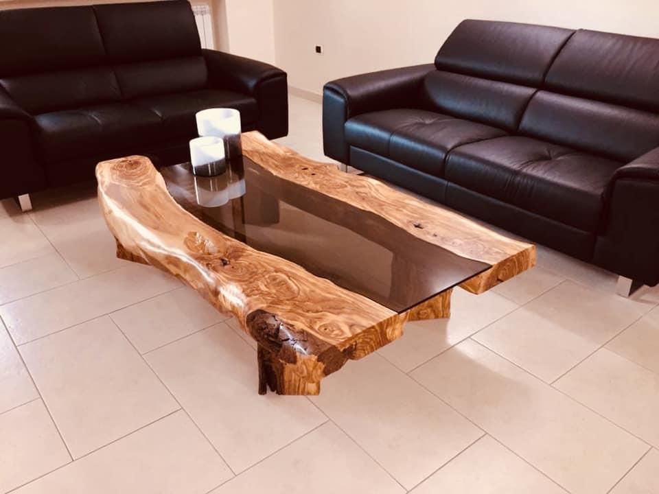 Tavolino da salotto in legno di Ulivo  Arte Rustica Santoro Galatina