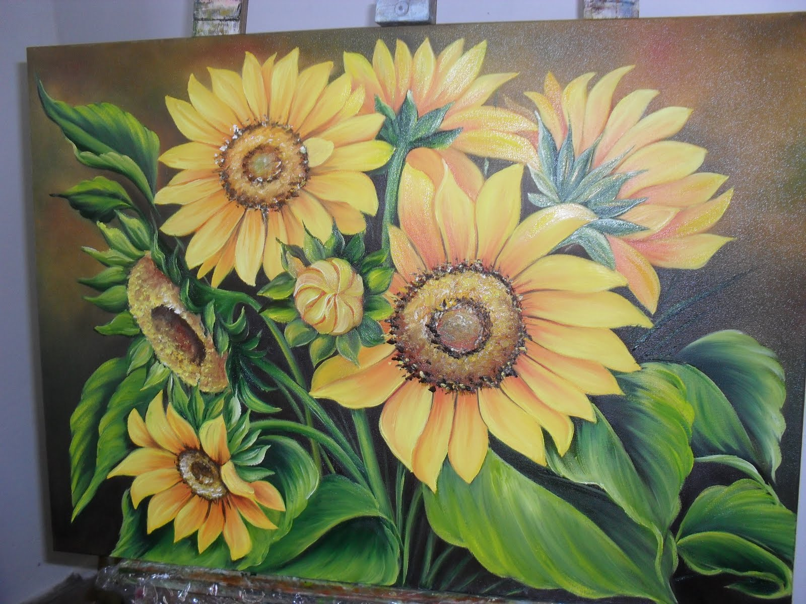 Pintura  leo  Girassis  Artesanato na Rede