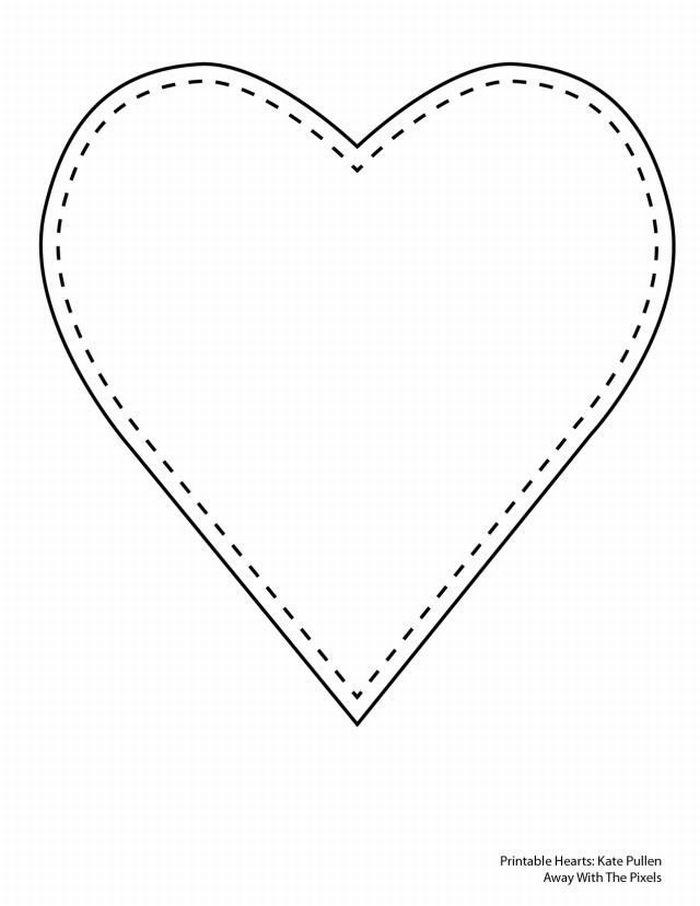 Molde de Coração Pequeno e Grande para Recortar: EVA