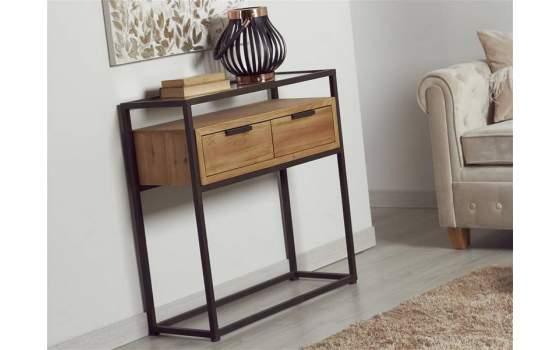 Mueble recibidor estilo actual industrial en madera y forja