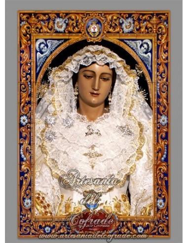 Precioso azulejo rectangular con la Virgen del Rocio