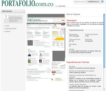 "El Tiempo's DIY interface. This is for their very profitable ""Portafolio"" spin-off site."