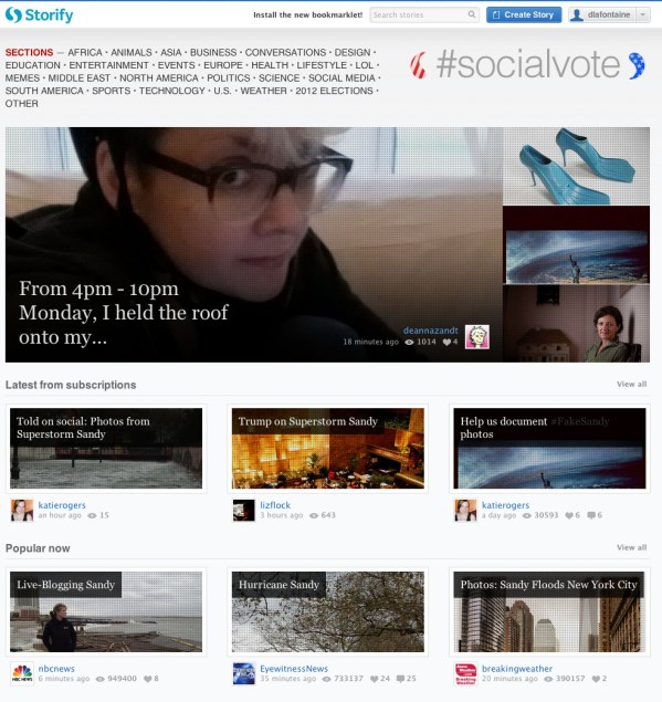 storify front page showing stories about hurricane sandy