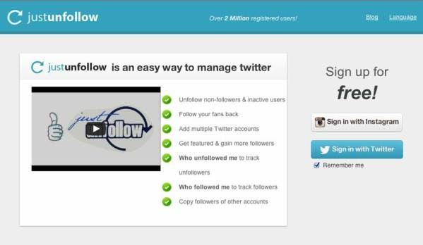 JustUnfollow home page