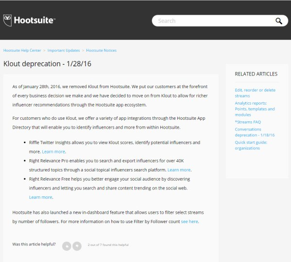 Hootsuite deprecates Klout