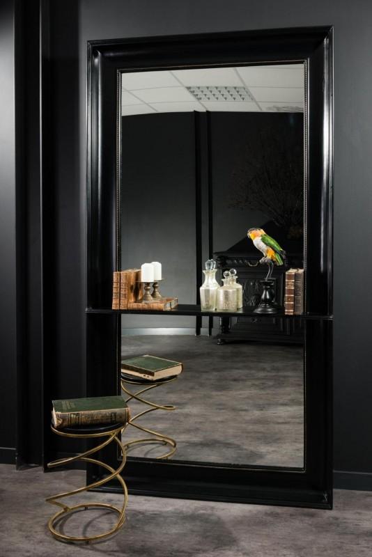 Trs grand miroir dentre avec tablette  poser au sol cadre en bois peint  la main laqu noir