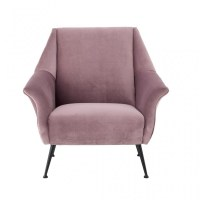 Mannix Armchair pink color velvet and antique black metal