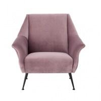 Mannix Armchair pink color velvet and antique black metal ...