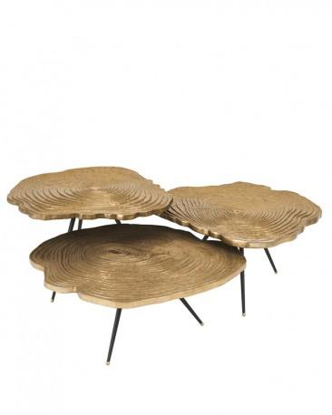 set de 3 tables basses gigogne en metal finition laiton et aluminium motif vegetal