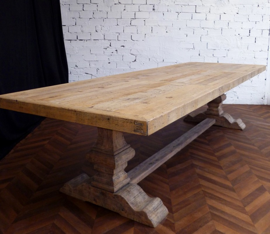 Grande et belle table de ferme Monastre en bois brut naturel de 330 cm de long