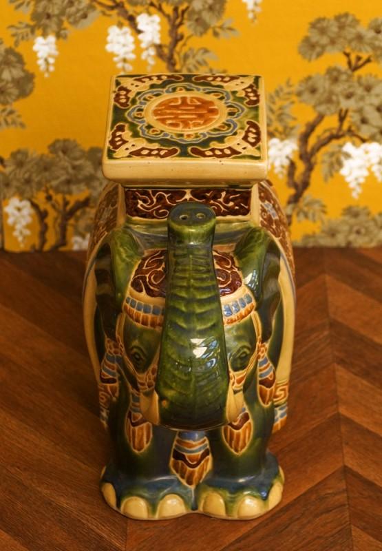 statue dlphant sellette lphant vintage vert asie vietnam chine socle terre cuite