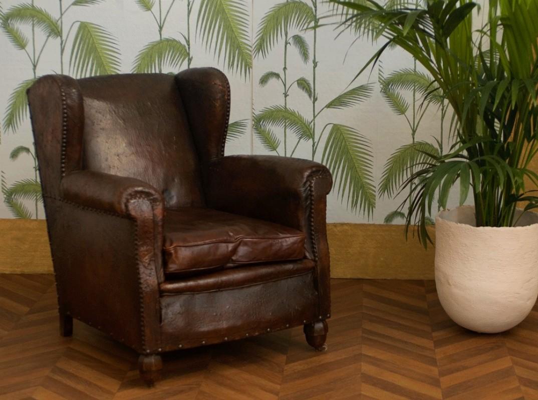 fauteuil club ancien fauteuil club vintage fauteuil  oreilles ancien cuir rtro annes