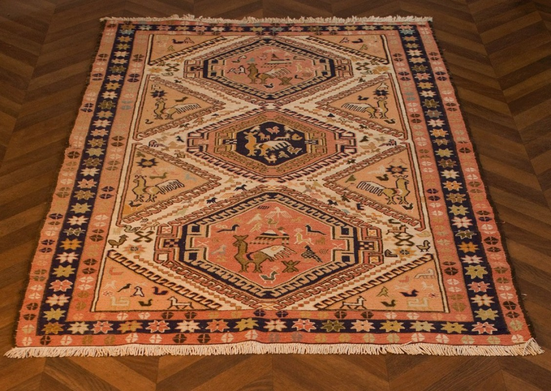 tapis kilim turquie laine soie occasion fabrication artisanale  la main couleurs naturelles