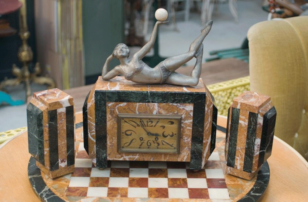 parure garniture horloge chemine pendule ancienne rtro art dco 1900 marbre statue