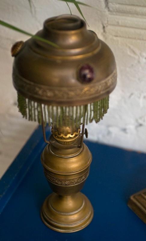 Lampe Ptrole Ancienne Cuivre Abat Jour Pampilles