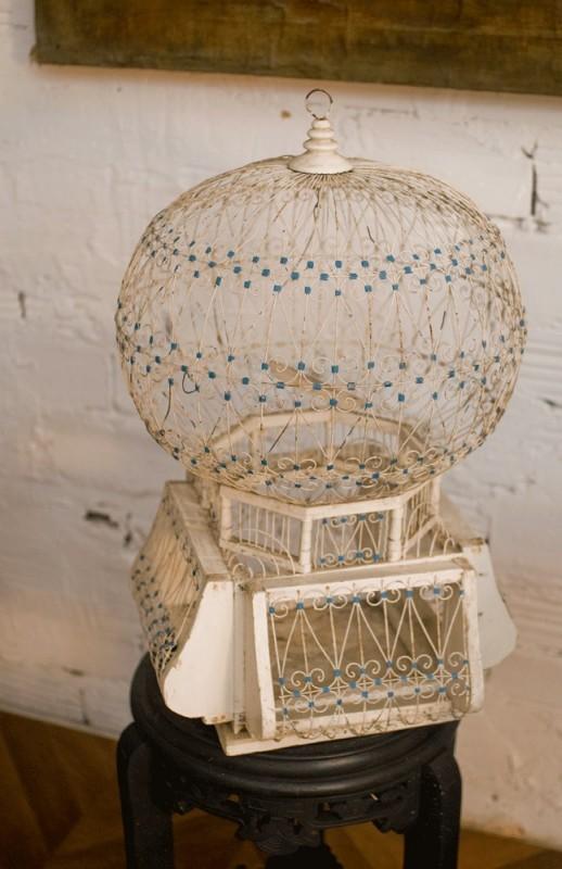 cage  oiseaux vintage rtro romantique charmante mtal bois peinte blanche bleue