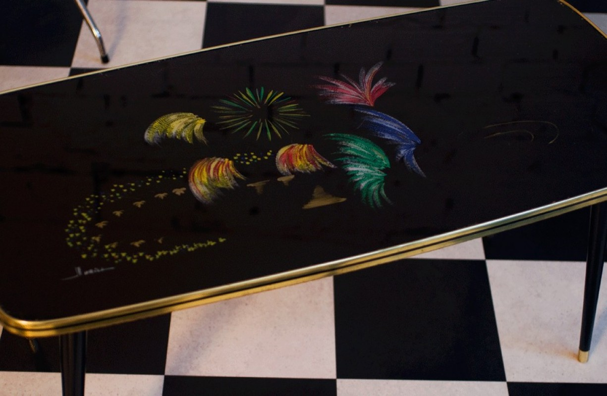 table basse vintage annes 50 verre mtal peinte  la main colore motif feu dartifice