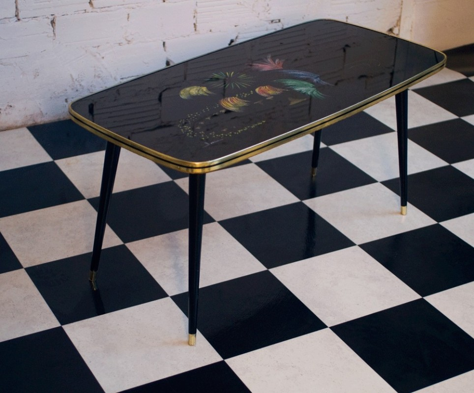 Vintage Coffee table 50s handpainted glass top