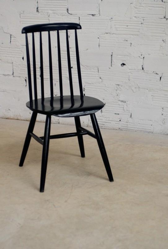chaises ilmari tapiovaara scandinave 1950 vintage teck noire laque design barreaux