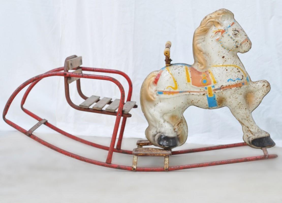 Vintage white metal rocking horse 1930 30s vintage