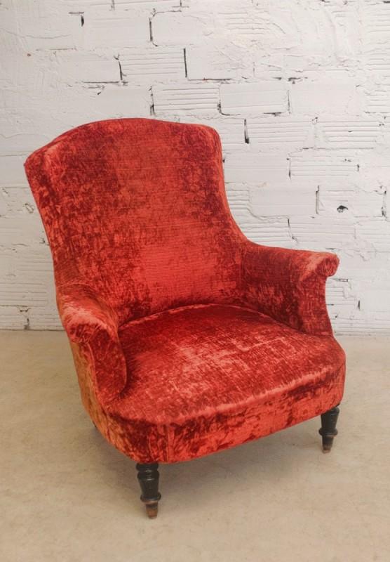fauteuil vintage fauteuil ancien fauteuil napolon III fauteuil velours rouge
