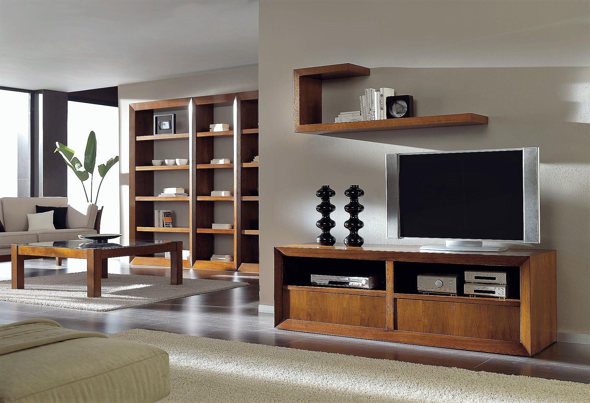 mueble TV en nogal con cajones y ruedas alta decoracin