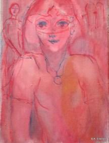 H05 - Masque au rouge (46 x 33 cm)