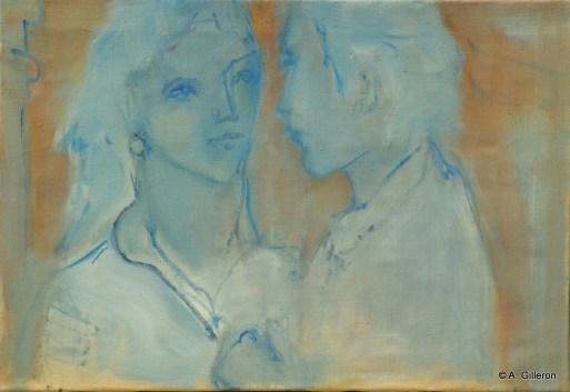 H40 - Couple en bleu (38 x 55 cm)