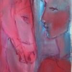 Face à face en rouge Huile sur toile l27 x H35 cm