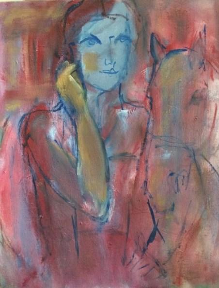 Symphonie en rouge Huile sur toile l46 x H55 cm