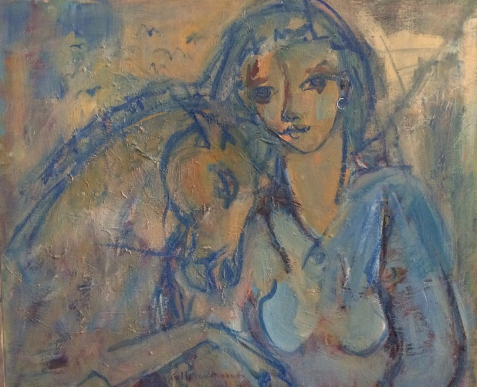 Tendresse en bleu Huile sur toile l60 x H73 cm
