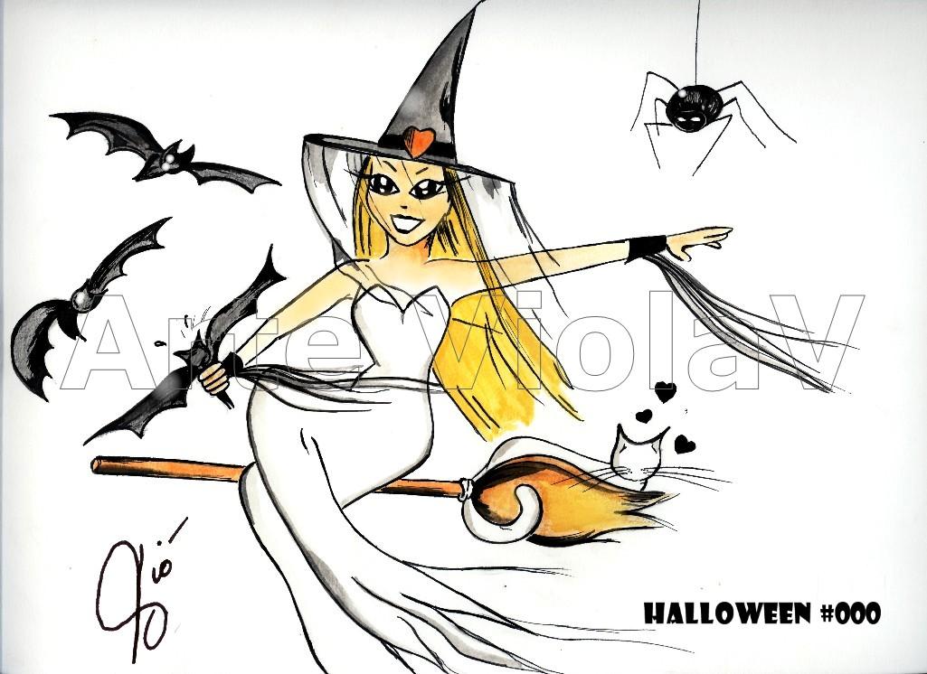 Halloween strega illustrazioni di Violetta Viola Arte ViolaV