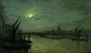 Artist John Atkinson Grimshaw, The Thames by Moonlight with Southwark Bridge, London, 1884