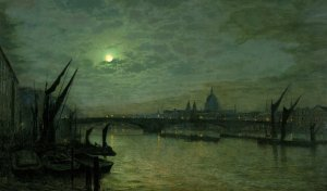 Artist John Atkinson Grimshaw, The Thames by Moonlight with Southwark Bridge, London, 1884