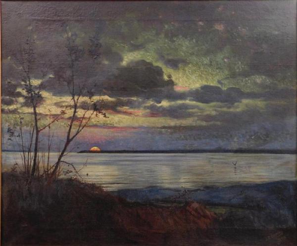 Luminist Style Landscape Painting Attributed Jasper