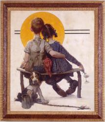 Norman Rockwell Boy and Girl Gazing at Moon