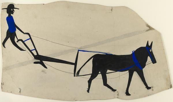 Bill Traylor, Mule and Plow, c.  1939–42.  Poster paint and ink on cardboard.  Harvard Art Museums/Fogg Museum, Collection of Didi and David Barrett '71, 2011.64.  Photo: Harvard Art Museums, © 2011 President and Fellows of Harvard College.