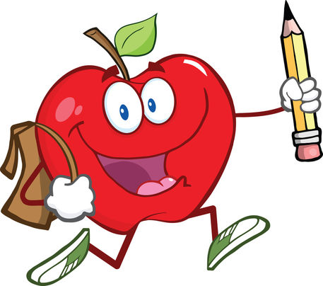"""apple with school bag and pencil"