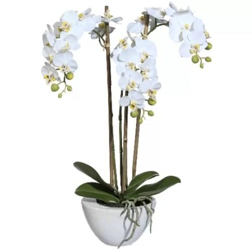Orhidee alba x3 50cm