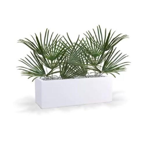 Creanga artificiala Rhapis UV 60cm in jardiniera alba