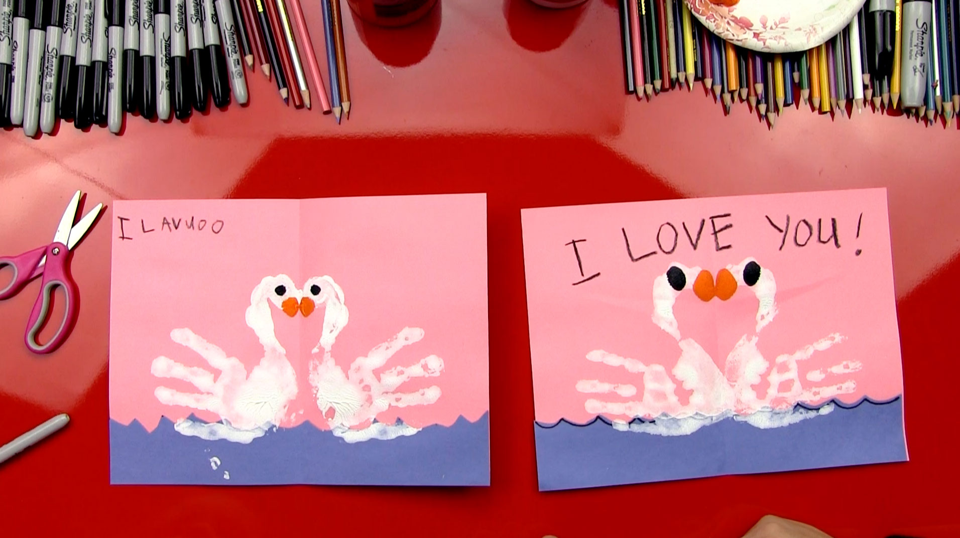 How To Finger Paint Swans Valentine's Card Art For