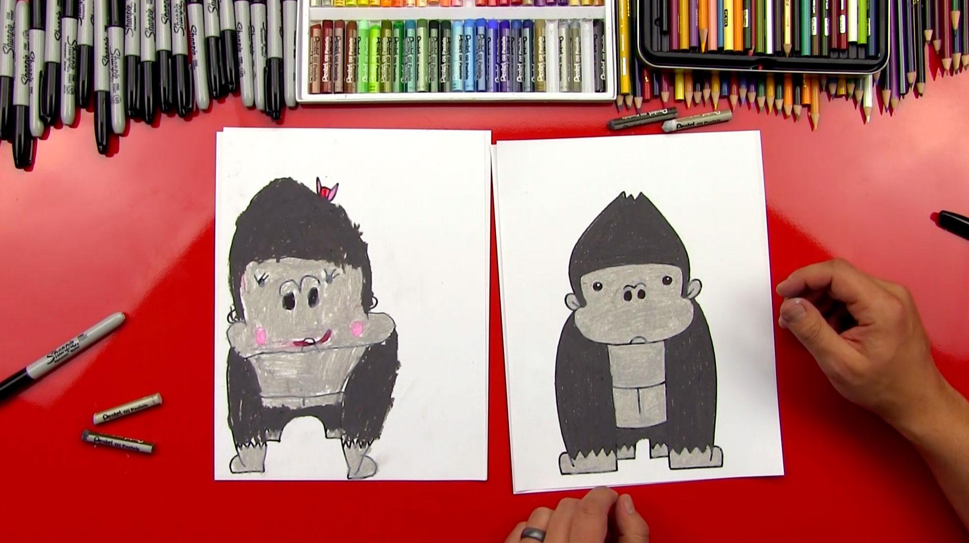 How To Draw A Cartoon Gorilla Art For Kids Hub