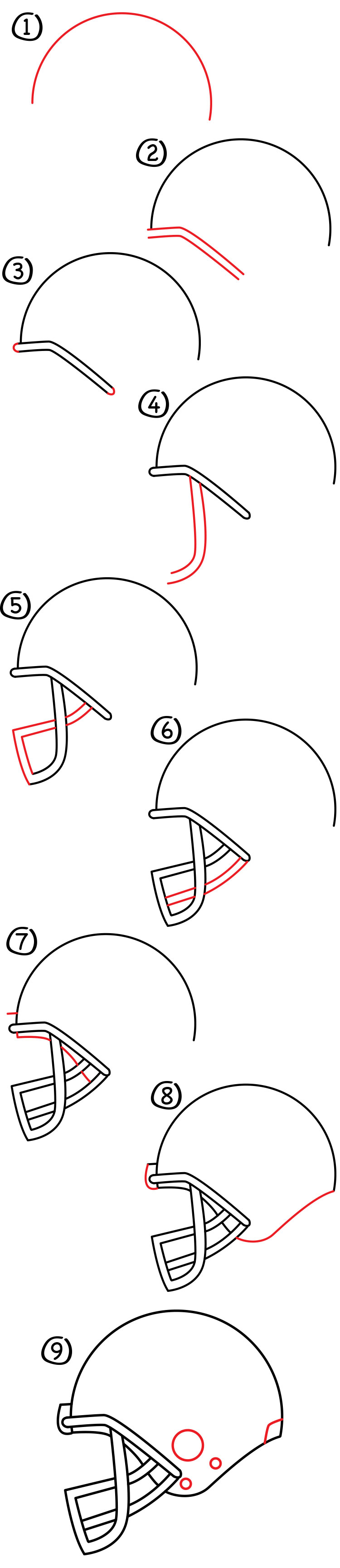 How To Draw A Football Helmet Art For Kids Hub