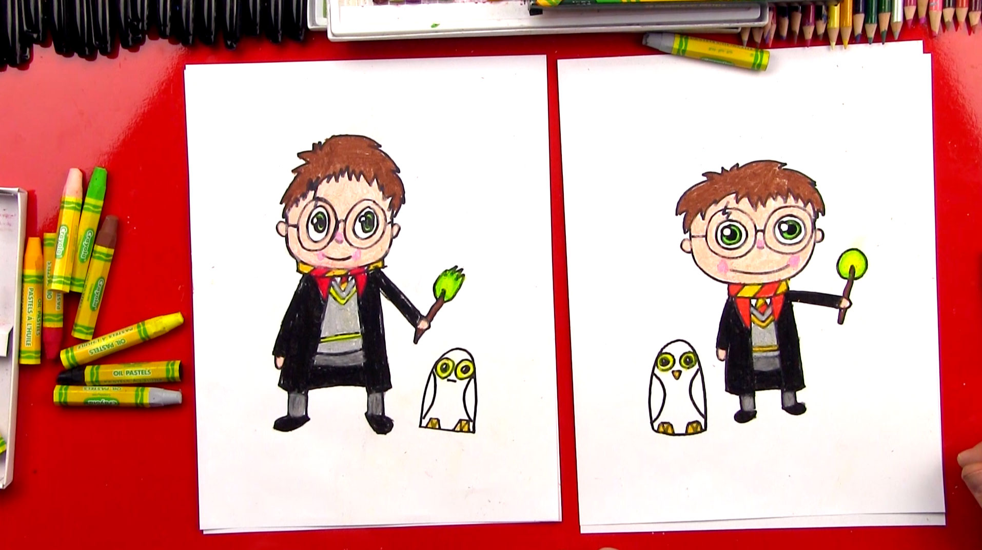 How To Draw A Cartoon Harry Potter And Hedwig