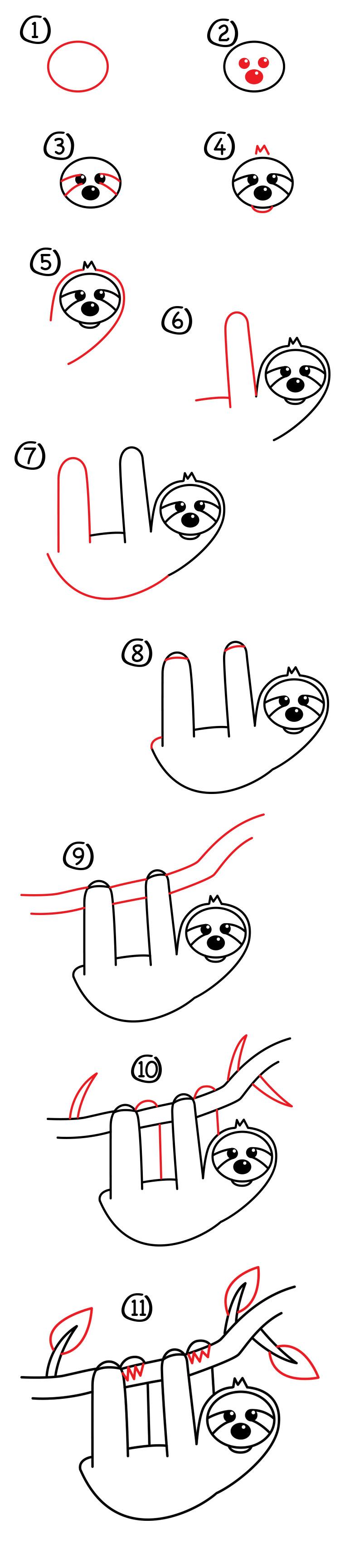 How To Draw A Cartoon Sloth - Art For Kids Hub
